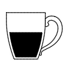 porcelain mug of coffee with handle silhouette vector image