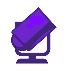 Purple colored searchlight vector