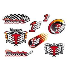 Racing and motocross emblems or symbols vector image