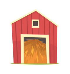 red barn with hay wooden agricultural building vector image