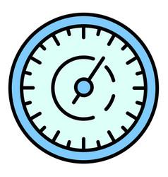 Retro speedometer icon color outline vector