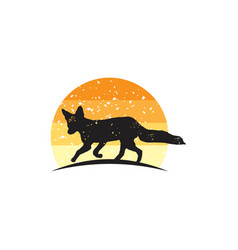 rustic fox logo design vector image
