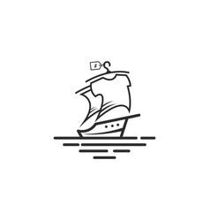 sailing yacht logo with shirt on sail vector image