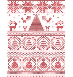 Scandinavian Printed Textile style pattern vector