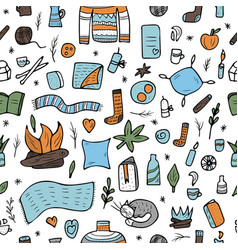 Seamless pattern of hygge concept vector