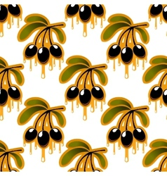 Seamless pattern of olive oil dripping from olives vector image