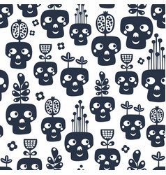 seamless pattern with monochrome skulls with vector image