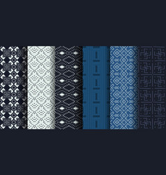 set african ethnic seamless patterns vector image