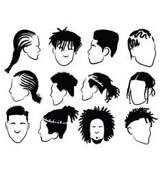 Set afro hairstyles for men collection vector