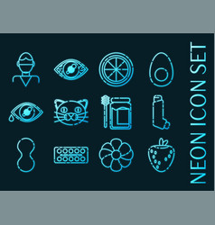 Set allergy blue glowing neon icons vector