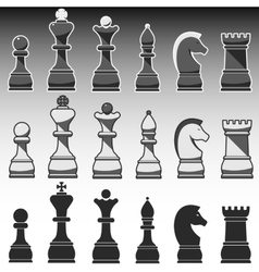 set chess figures black grey and white vector image