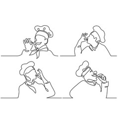 Set cook making tasty delicious gesture vector