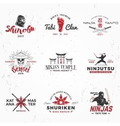 set japanese ninjas logo katana master vector image