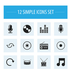 set of 12 editable song icons includes symbols vector image