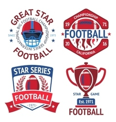 Set of american football rugby labels with ball vector image
