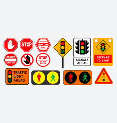 set of flat traffic light and stop sign vector image