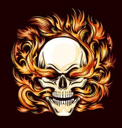 skull burning in hell fire tattoo vector image