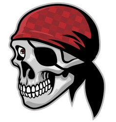 Skull pirate wearing a bandana vector