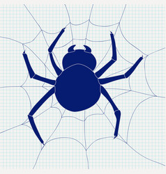 Spider and spider web icon vector