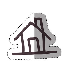 Sticker hand drawing silhouette house icon vector