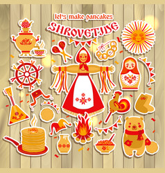 Sticker set on the theme of the russian vector