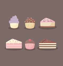 sweet and delicious cakes and cupcakes vector image