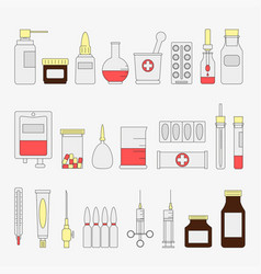 trendy color flat medical and health care icon set vector image