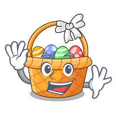 Waving easter basket isolated in the character vector