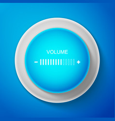 white volume adjustment icon on blue background vector image
