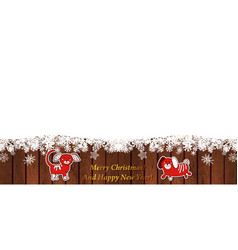 winter template with snowflake on wood background vector image