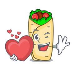 with heart burrito mascot cartoon style vector image