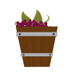 Wooden basket with harvest grapes vector