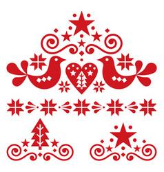 Xmas scandinavian folk art design set vector