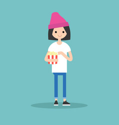 young cute girl chewing popcorn full length vector image