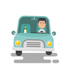 young guy drinking and drunk driving vector image