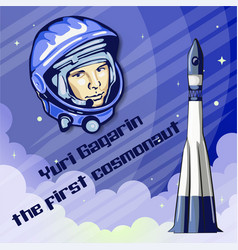 yuri gagarin was the first spaceman vector image vector image