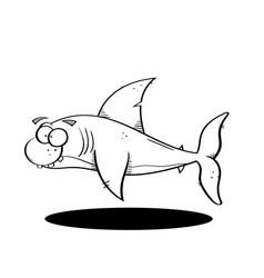 black line cartoon shark vector image vector image