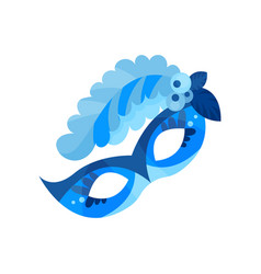 blue carnival mask with feathers masquerade mask vector image