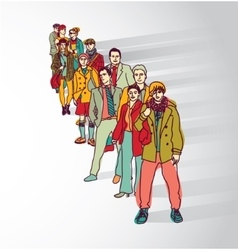 Group people standing in queue tail waiting flat vector image vector image