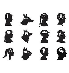 men women children and pets thoughts in head vector image vector image