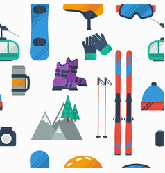 seamless pattern on white at winter mountain sport vector image vector image