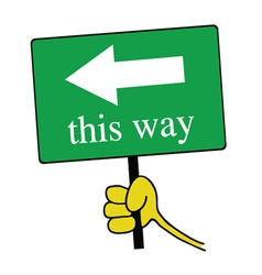 this way signboard with hand color vector image