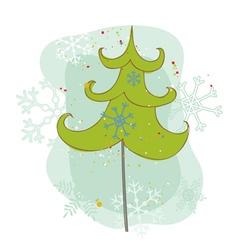 vintage christmas tree card vector image vector image