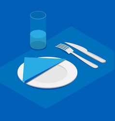 3d isometric table appointments in blue color vector image