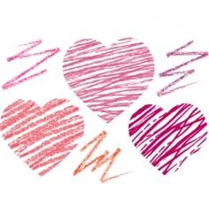 abstract set hearts chalk drawing vector image vector image