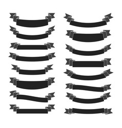 black ribbon banners set vector image