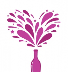 champagne with heart splash vector image vector image
