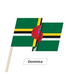 Dominica Ribbon Waving Flag Isolated on White vector image