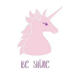 Silhouette of a unicorn with inscription vector image