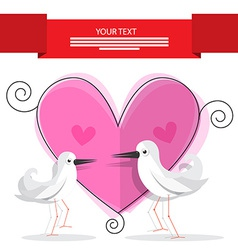 Wedding Card with Pink Heart and Paper Doves vector image vector image